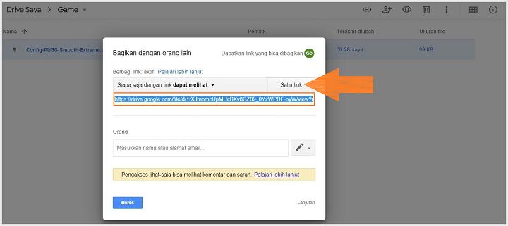 Cara Membuat Share Link Pada Google Drive